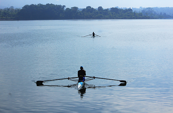rowing on La Mesa Dam